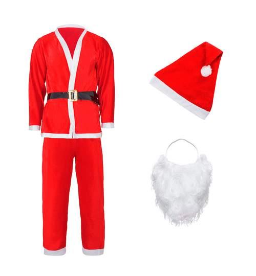 Costum de Mos Craciun pentru adulti, 5 piese,material flausat