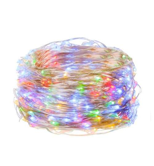 Instalatie luminoasa LED de Craciun, 20 led-uri, 2m, multicolor, Alimentat cu baterii 2xAA