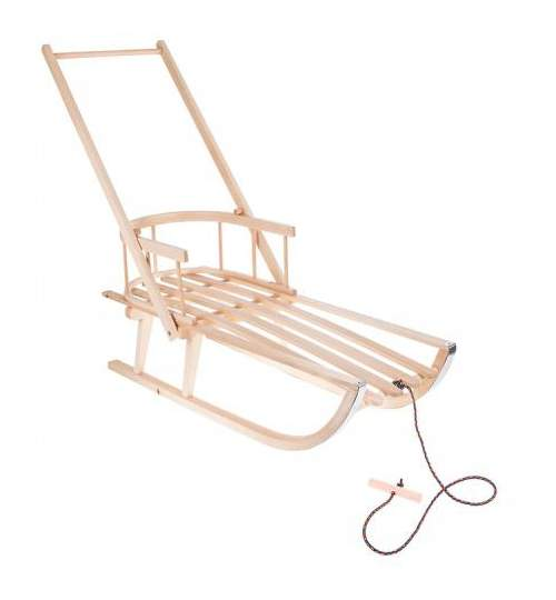 Sanie pentru copii cu spatar si maner impingere, din lemn, 90x32x21cm