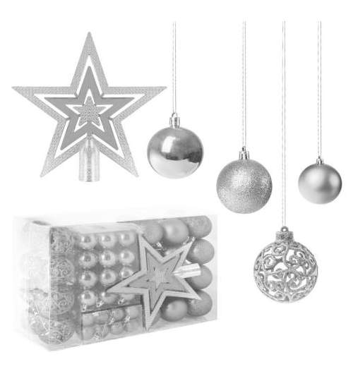 Set 100 Globuri de Craciun cu Varf de Brad model Stea, argintiu