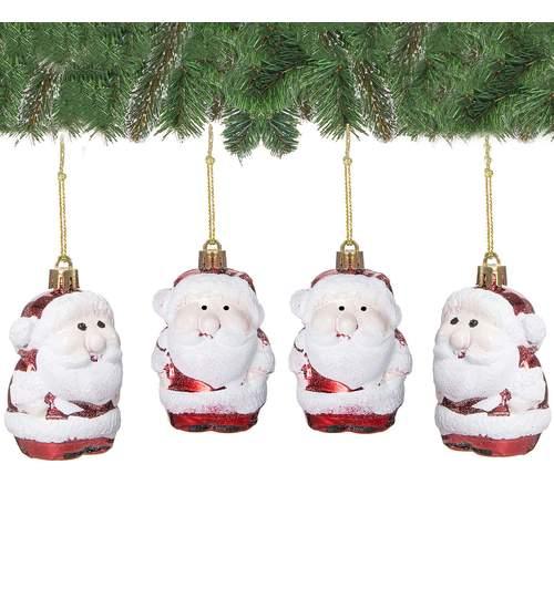 Set figurine decorative Mos Craciun, pentru brad, din plastic, 4 buc