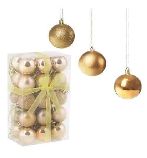 Set globuri Craciun, pentru brad, din plastic, 3cm, 30 buc, auriu