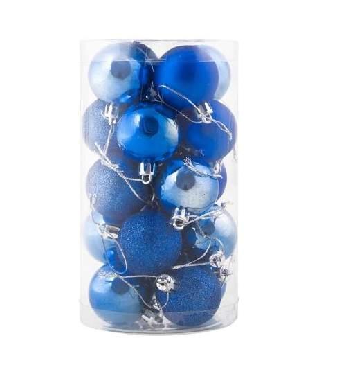 Set globuri Craciun, pentru brad, din plastic, 4cm, 20 buc, albastru