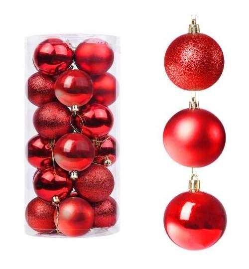 Set globuri Craciun, pentru brad, din plastic, 4cm, 20 buc, rosu