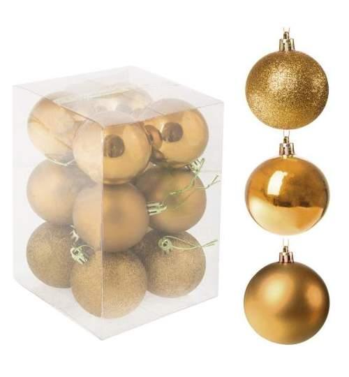 Set globuri Craciun, pentru brad, din plastic, 6cm, 12 buc, auriu