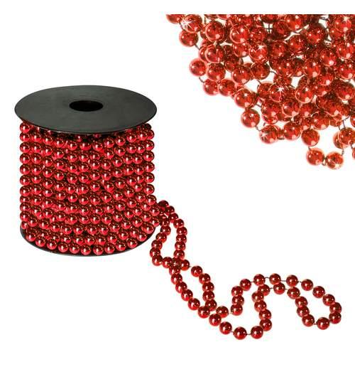 Sirag margele decorative de Craciun, pentru brad, 8mm x 10m, rosu