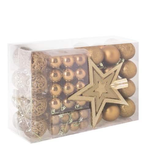 Set 100 Globuri de Craciun cu Varf de Brad model Stea, auriu