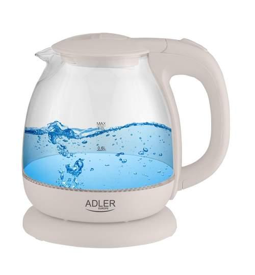 Fierbator electric Adler din sticla, capacitate 1L, putere 1100W, iluminat led, Culoare Alb