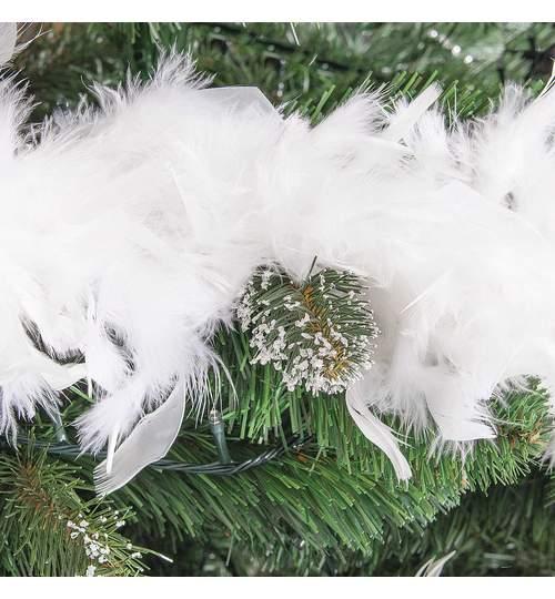 Ghirlanda artificiala, beteala decorativa din pene pentru Craciun, lungime 7.2m, culoare alb