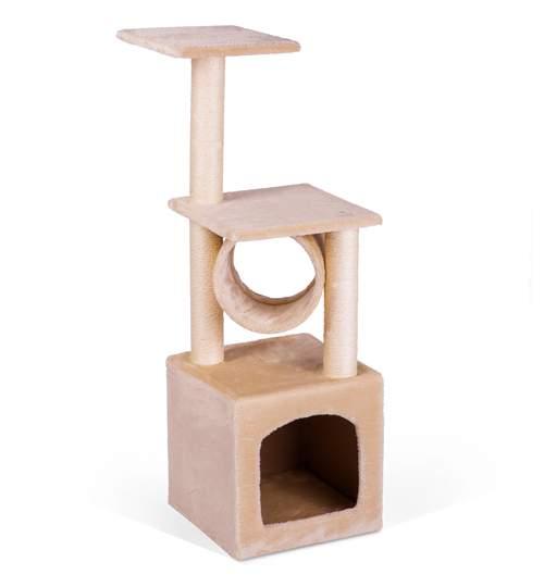 Ansamblu Casa de Joaca pentru Pisici, 3  Nivele, 93 cm, Culoare crem