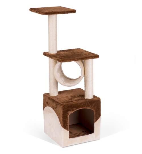 Ansamblu Casa de Joaca pentru Pisici, 3  Nivele, 93 cm, Culoare maro/crem