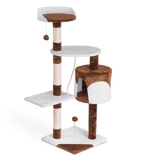 Ansamblu de Joaca pentru Pisici tip Turn, 3 Nivele, 112 cm, Culoare maro/alb