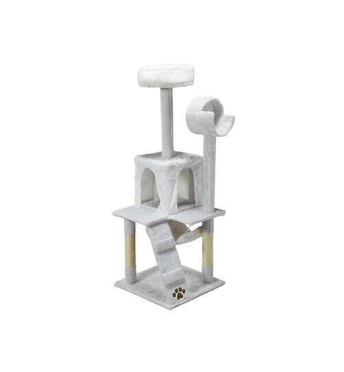 Ansamblu de Joaca pentru Pisici tip Turn, 3 Nivele, 132 cm, Culoare alb