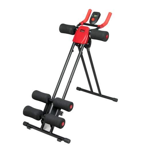 Aparat Vertical Fitness pentru Abdomene cu Computer, 120kg, rosu/negru