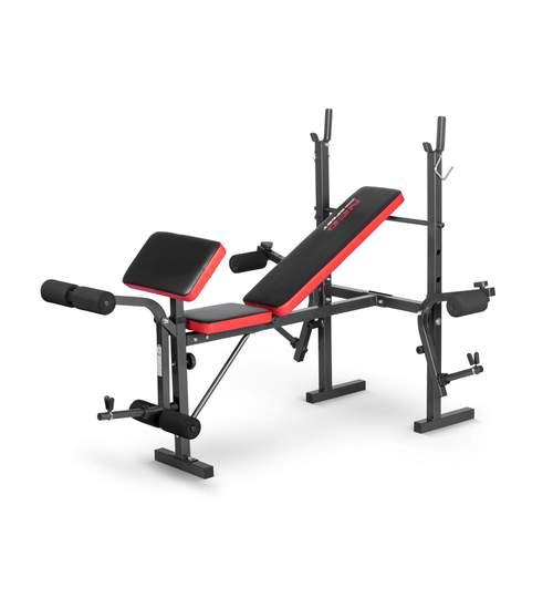 Banca multifunctionala pentru abdomene si exercitii fitness, 100kg, negru/rosu