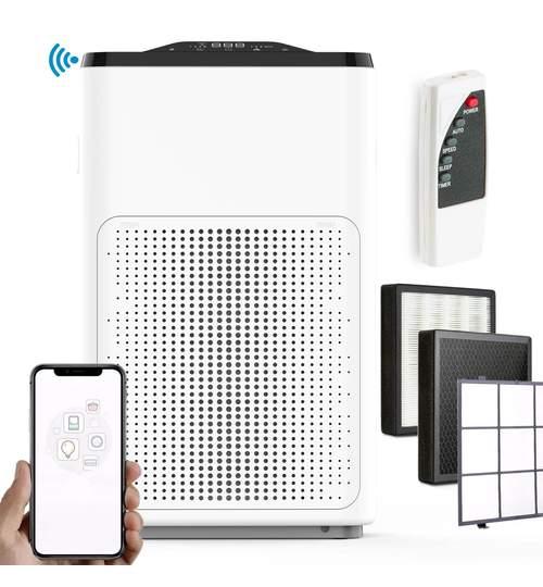 Purificator de aer Berdsen cu telecomanda, WiFi, filtru HEPA si functie de ionizare