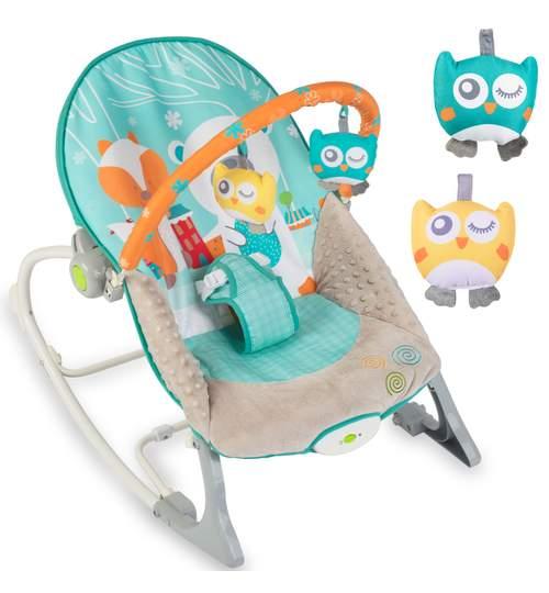 Scaun balansoar multifunctional pentru bebelusi cu jucarii si vibratii, alb/albastru