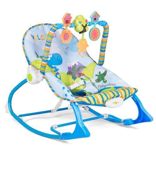 Scaun balansoar multifunctional pentru bebelusi cu jucarii, sunete si vibratii, albastru
