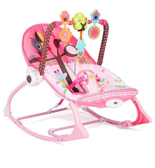 Scaun balansoar multifunctional pentru bebelusi cu jucarii, sunete si vibratii, roz