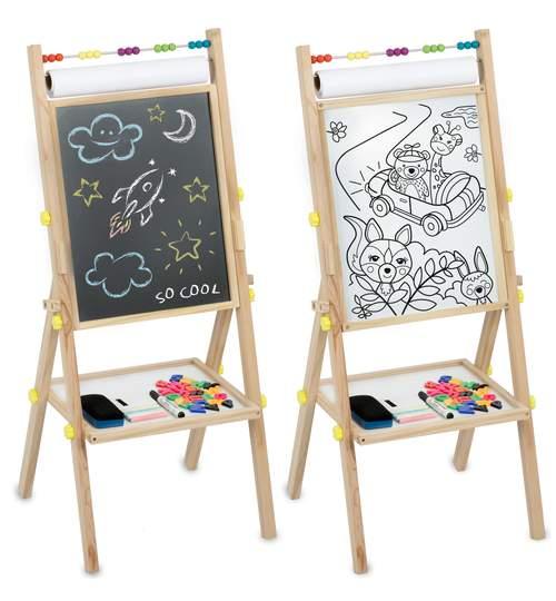Tabla Magnetica Multifunctionala Pliabila, cu 2 fete, pentru Scris cu Abac, Magneti si Creta