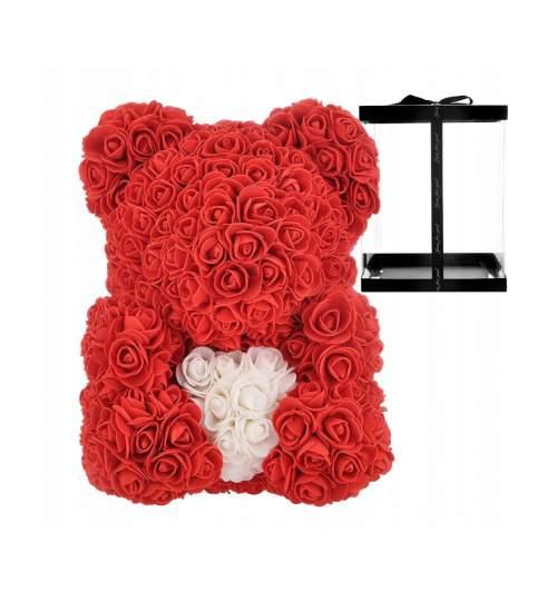 Ursulet Floral BIG 40 cm DeLuxe Rosu cu Inimioara Alba + cutie de cadou ManiaMagic