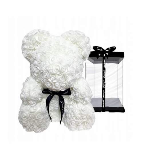Ursulet floral DeLuxe Alb cu fundita, 25 cm + cutie de cadou ManiaMagic