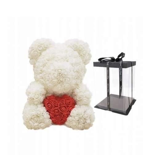 Ursulet Floral DeLuxe Alb cu Inimioara Rosie 25 cm + cutie de cadou ManiaMagic