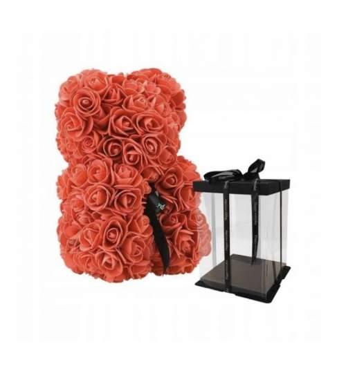 Ursulet Floral DeLuxe Rosu cu fundita, 25 cm + cutie de cadou ManiaMagic