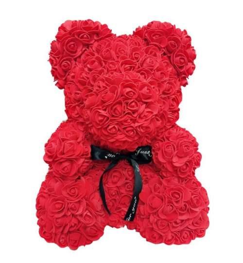 Ursulet floral Big Rose decorat manual cu trandafiri de spuma, inaltime 40 cm, rosu