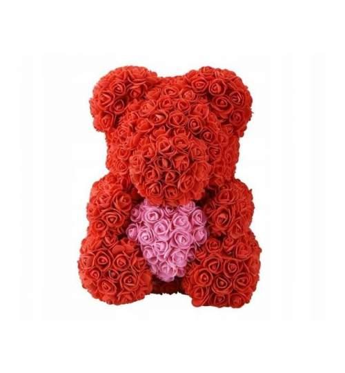 Ursulet floral Big Rose cu inimioara roz, decorat manual cu trandafiri de spuma, inaltime 40 cm