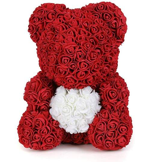 Ursulet floral BIG cu inimioara alba, decorat manual cu trandafiri de spuma, inaltime 40 cm