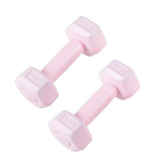Set 2 Gantere fitness din cauciuc, 2x0.5 kg, culoare roz