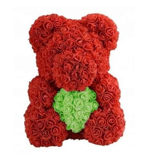 Ursulet floral BIG cu inimioara verde, decorat manual cu trandafiri de spuma, inaltime 40 cm