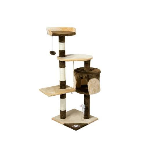 Ansamblu de Joaca pentru Pisici tip Turn, 3 Nivele, 112 cm, Culoare maro/bej