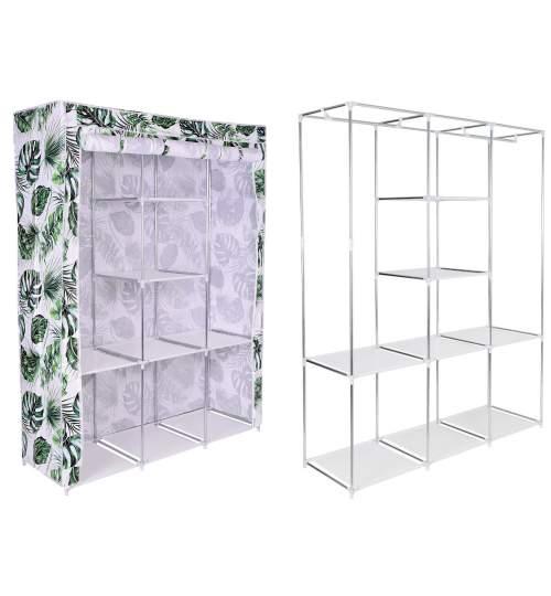 Dulap din material textil Sonia Monstera, pentru depozitare incaltaminte, imbracaminte sau accesorii, cadru metalic cu 8 rafturi ,culoare alb-verde