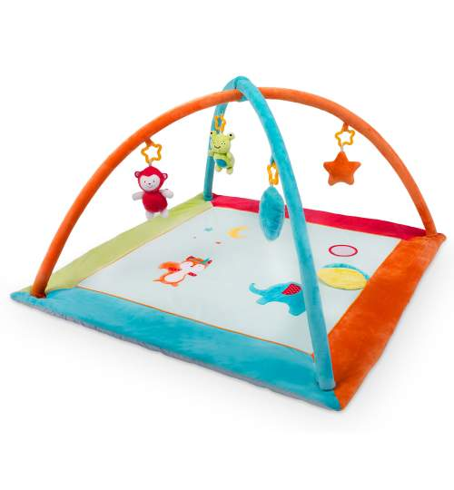 Covoras loc de joaca patrat educativ interactiv pentru copii, cu jucarii, model animale, 90 x 45 cm