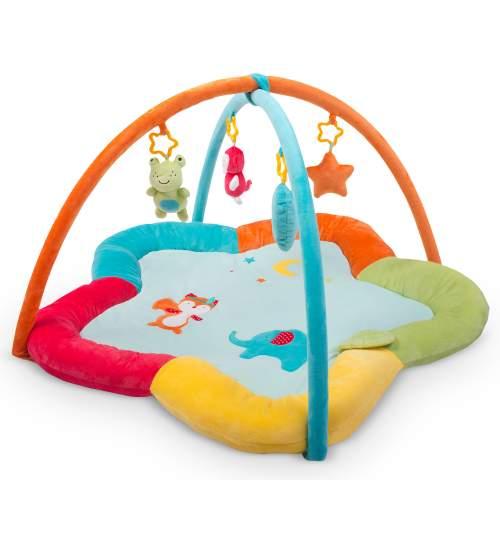 Covoras loc de joaca stea educativ interactiv pentru copii, cu jucarii, model animale, 85 x 50 cm
