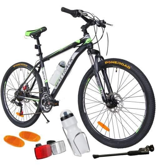 Bicicleta MTB MalTrack Team Green cu 18 Viteze, Roti 26 Inch, Mountain Bike