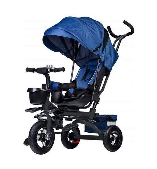 Tricicleta cu scaun rotativ, maner parental, copertina, cos depozitare, suport picioare, centura, culoare albastru
