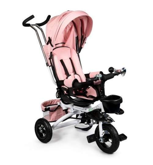 Tricicleta cu scaun rotativ, maner parental, copertina, cos depozitare, suport picioare, centura, culoare roz