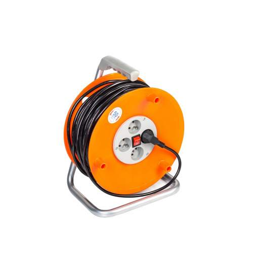 Prelungitor rola cablu curent cu tambur, 4 prize, 50m