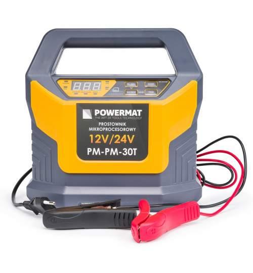 Redresor baterie Powermat PM-PM-30T, 12 / 24V 30A, 8 etape de incarcare