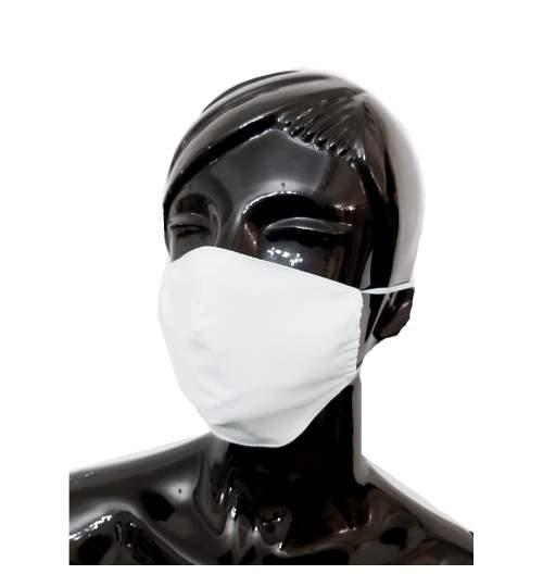 Masca refolosibila pentru protectie din bumbac, dublu strat cu densitate mare, confortabila, culoare alb