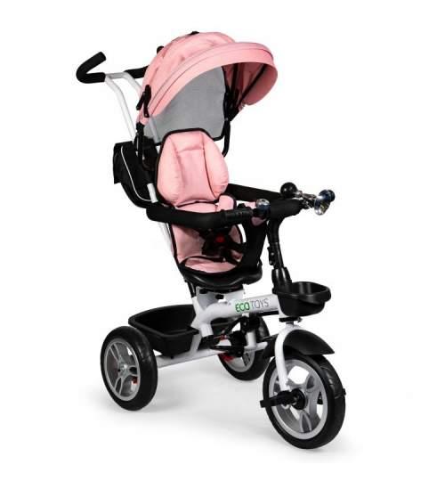 Tricicleta cu maner parental, scaun 360 grade, copertina, cos depozitare si centura, culoare roz