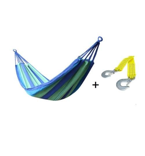 Set Hamac Multicolor pentru Curte sau Gradina, Dimensiuni 200x100 + Franghie suspendare hamac, lungime 1m, carlige prindere metal