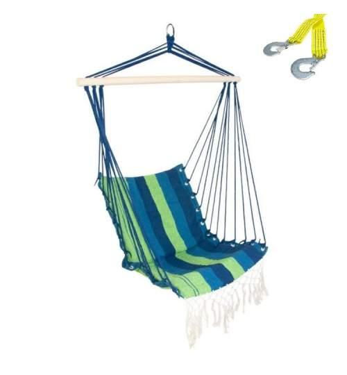 Set Hamac Brazilian tip Scaun Deluxe, Capacitate 120kg + Franghie suspendare hamac, lungime 3 m, carlige prindere metal