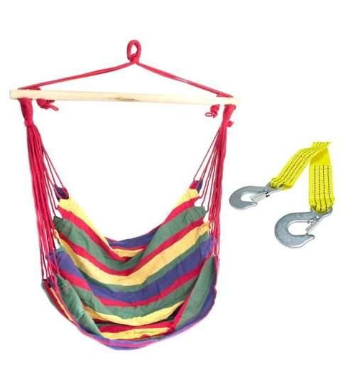 Set Hamac tip scaun, capacitate 120 kg, culoare Rosu si Verde + Franghie suspendare hamac, lungime 3m, carlige prindere metal