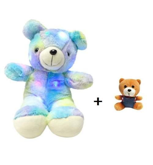 Set Ursulet plus iluminat LED RGB, inaltime 45 cm, albastru + Breloc pentru chei, lungime 12 cm