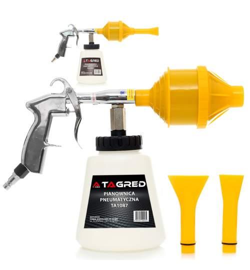 Pistol pneumatic pentru curatat tapiterie auto, cu 2 duze, capacitate 1L