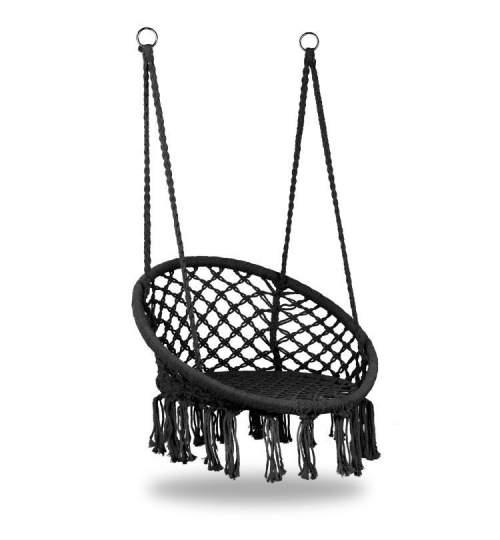 Leagan balansoar rotund suspendat pentru casa sau gradina, cu franjuri, 150kg, negru